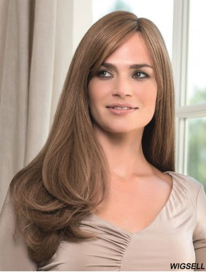 Cheap Monofilament Human Wigs UK With Bangs Straight Style