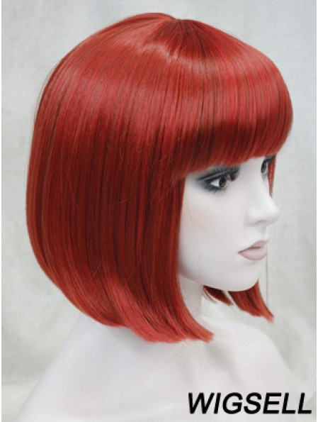 Human Hair Lace Front Wig Chin Length With Bangs Red Color