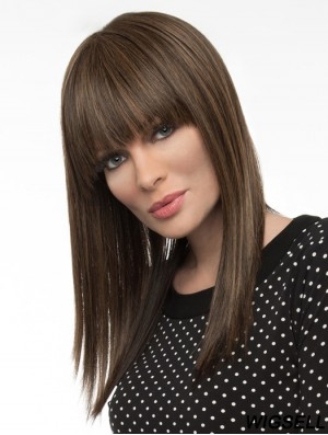 16 inch Remy Human Long Straight With Bangs Monofilament Wig Human