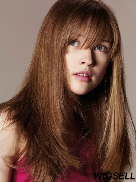 Synthetic Wig With Bangs Long Length Straight Style Auburn Color