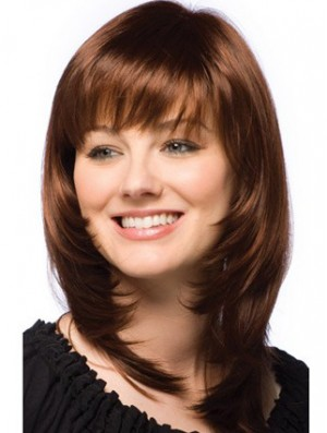 Layered Wig Auburn Human Hair Shoulder Length Wig With Bangs