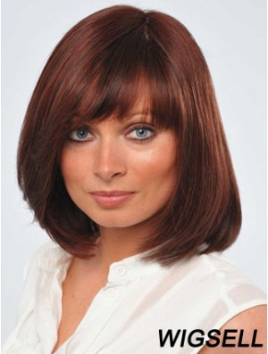 12 inch Fabulous Red Bobs Human Hair Monofilament Wigs