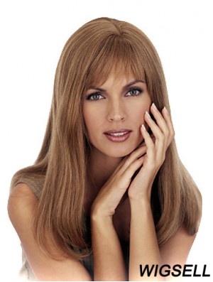 With Bangs Cheapest Straight Lace Front Wig Blonde Long Human Hair Wigs