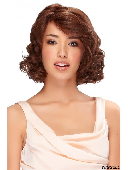 Real Hair Wigs Classic Bobs Auburn Color Chin Length Wavy Style