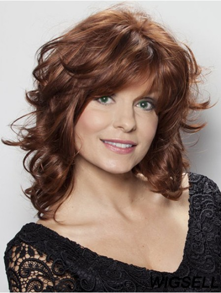 16 inch Brown Shoulder Length Layered Wavy Good Lace Wigs