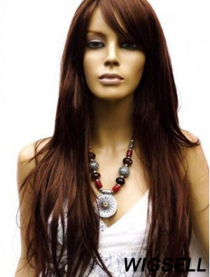 Long Human Hair Wigs With Capless Layered Cut Straight Style
