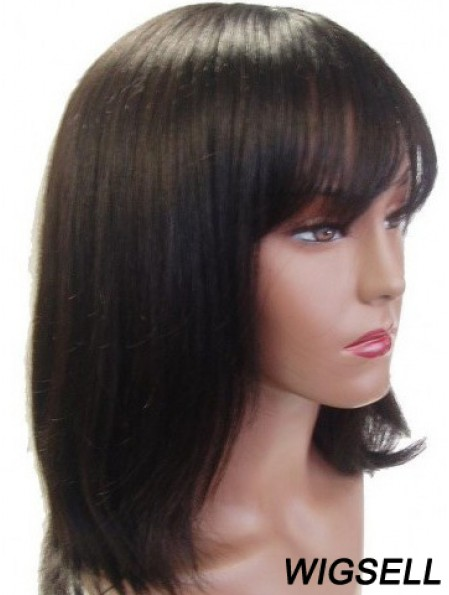 """Capless Straight With Bangs Shoulder Length 14"""" Ideal Human Hair Wigs"""