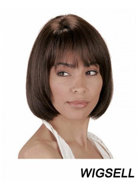 Human Hair Wig Bobs Chin Length Wig With Bangs Natural