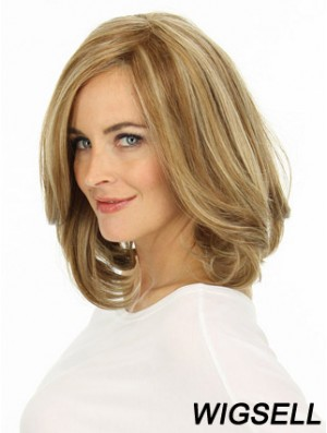 Blonde Human Hair Lace Wig Layered Cut Wavy Style