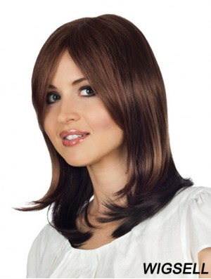 Monofilament Wavy With Bangs Shoulder Length 14 inch Style Human Hair Wigs