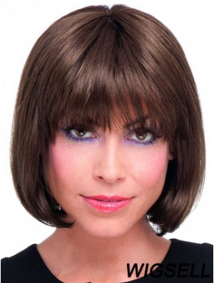 Real Hair Bob Wig With Lace Front Chin Length Straight Style
