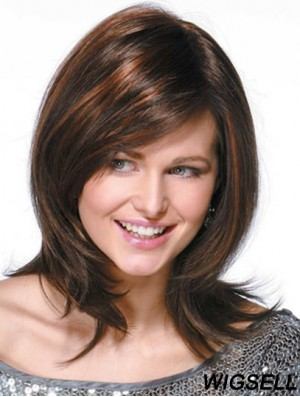 Brown Human Hair Wigs With Monofilamnt Shoulder Length Wavy Style