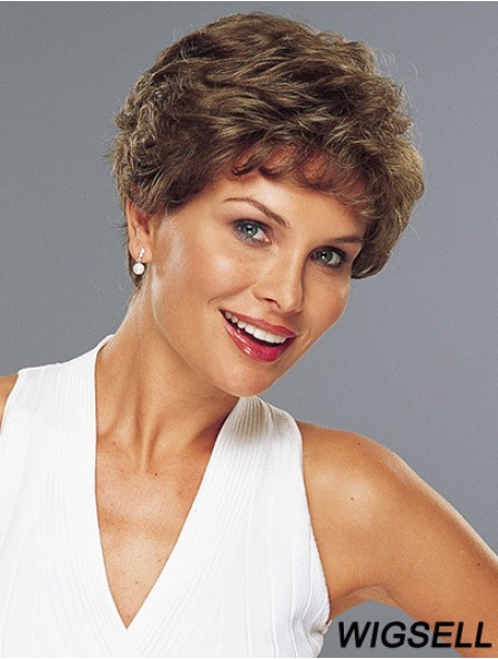 100% Hand Tied Classic Wavy Remy Short Brown Lace Wigs UK