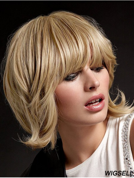 Human Hair Hand Tied Wigs With Bangs Blonde Color Shoulder Length