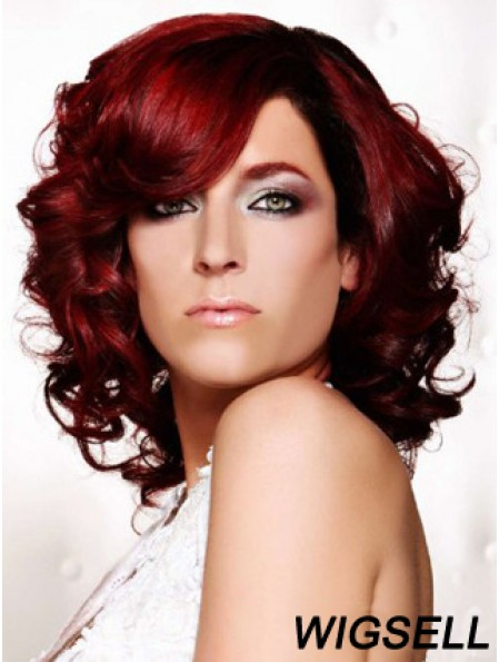 Curly With Bangs Shoulder Length Red Ideal Lace Front Wigs
