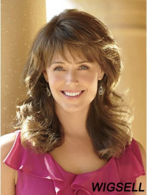 Long Wig With Bangs Capless Brown Color Wavy Style