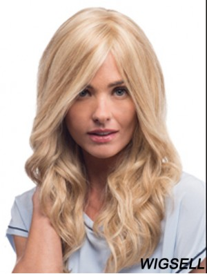 Mono Wigs With Remy Blonde Color Wavy Style With Bangs
