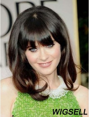 Comfortable Brown Shoulder Length Wavy 14 inch With Bangs Zooey Deschanel Lace Wigs