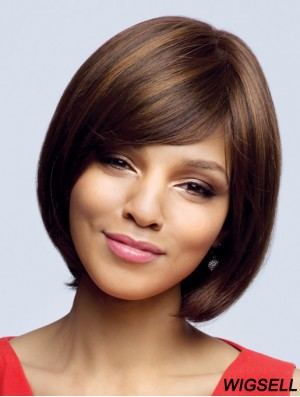 100% Hand Tied Chin Length Bobs Wavy Brown Hand Made Wigs