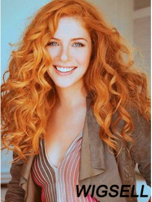 Without Bangs Long Copper Wavy 18 inch Hairstyles Human Hair Rachelle Lefevre Wigs