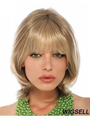 With Bangs Chin Length Blonde Straight Stylish Petite Wigs