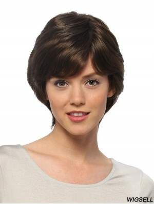 Short Straight Layered Black Durable 100% Hand-tied Wigs