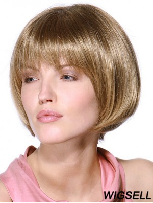Layered Bob 100% Hand Tied Blonde Color Straight Style Chin Length