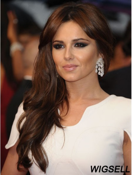 Durable Auburn Long Wavy 18 inch With Bangs Cheryl Cole Lace Wigs