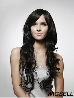 Long Curly Human Hair Wigs Layered Cut Black Color