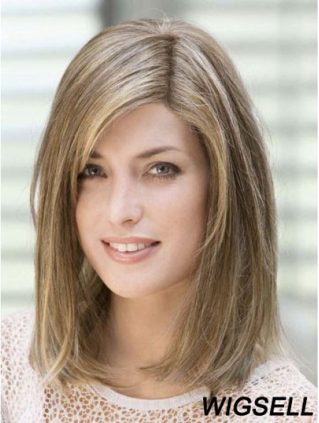 Brown Wigs Straight Shoulder Length Wigs Human Hair 14 Inch