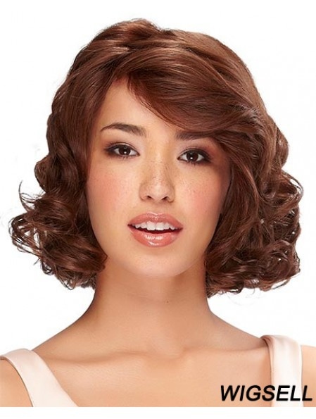 Chin Length Auburn Curly With Bangs Monofilament Wig Human