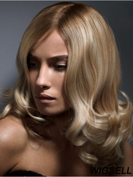 14 inch Blonde Shoulder Length Wig Without Bangs Wavy Human Hair Lace Wigs
