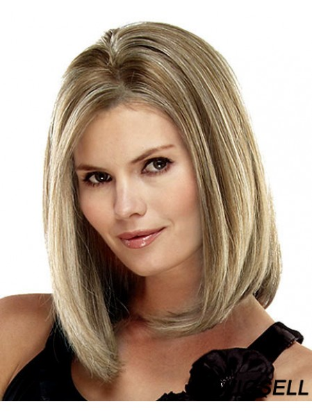 Straight Shoulder Length Blonde 14 inch Lace Front Online Bob Wigs