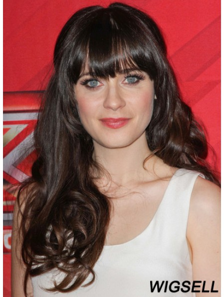 Brown Curly Remy Human With Bangs Human Hair Monofilment Zooey Deschanel Wigs