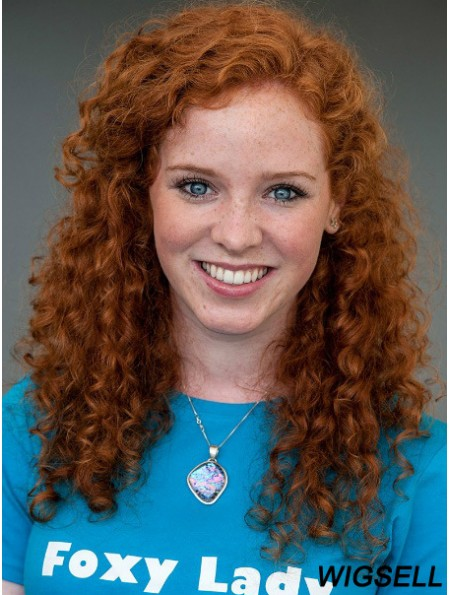 Without Bangs Long Copper Curly 18 inch Affordable Human Hair Stephanie Courtney Wigs