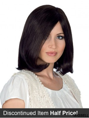 Monofilament Wig Black Hair Straight Human Hair Wig Shoulder Length 12 Inch