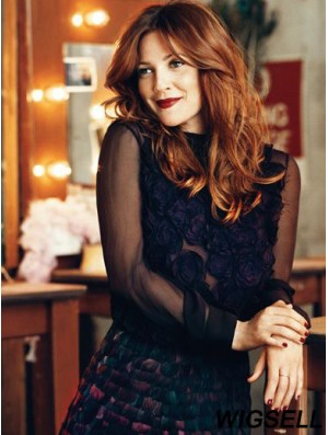 Without Bangs Long Copper Wavy 18 inch Comfortable Human Hair Drew Barrymore Wigs
