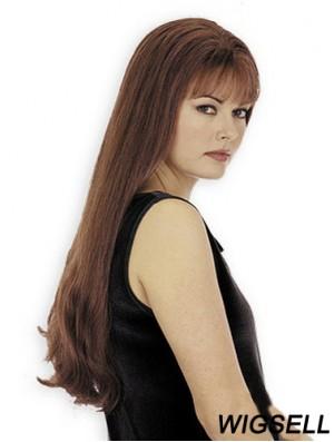 With Bangs Good Straight Auburn Long Human Hair Wigs