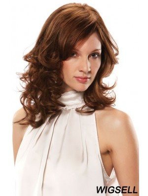 Monofilament Wig Bases Shoulder Length Brown Color Wavy Style