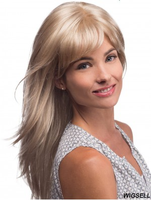Long Blonde Human Hair Wigs Blonde Color Straight Style Layered Cut