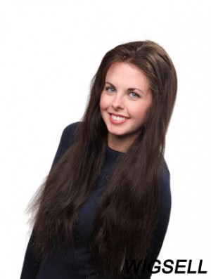 Brown Long Straight Without Bangs Lace Mono Wig UK Online