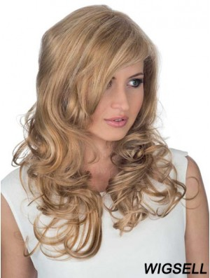 Good 18 inch Blonde Long Layered Curly Lace Wigs