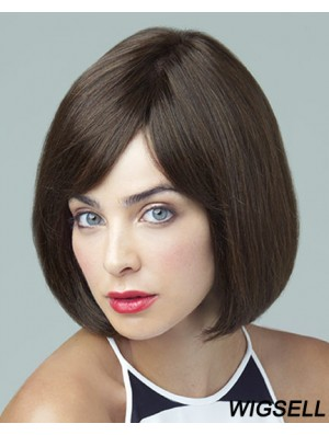 Remy Human Brown Straight Bobs 10 inch Large Cap Monofilament Wigs