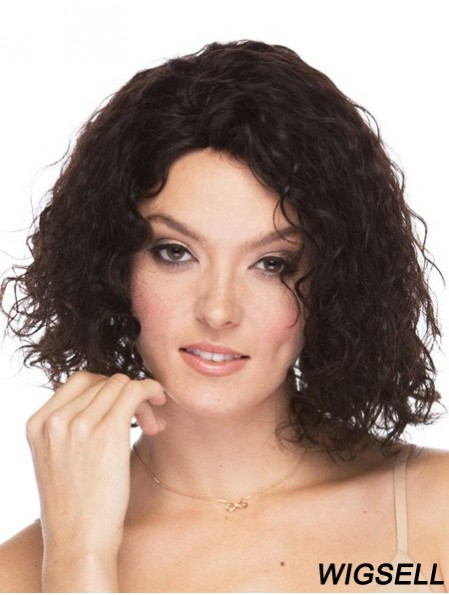 Curly Brazilian Human Hair Shoulder Length Brown Color