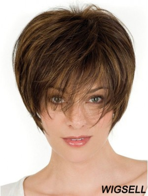 Human Hair Brown Wigs With Lace Front Wavy Style