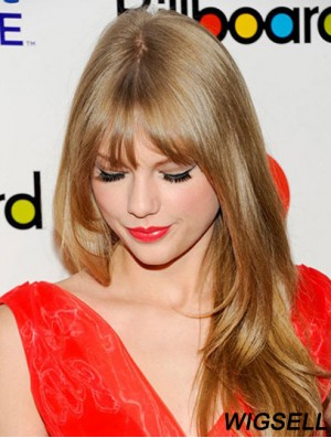 100% Hand-tied With Bangs Straight Long Blonde Soft Taylor Swift Wigs