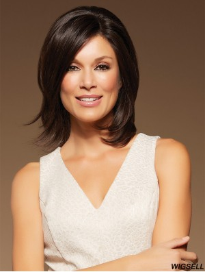 Lace Wigs 100% Hand Tied Shoulder Length Brown Color With Bangs