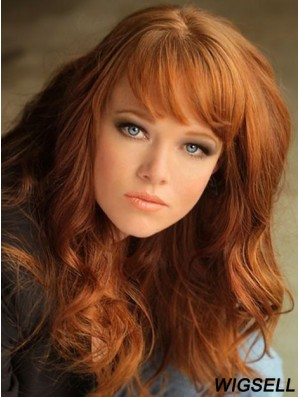 With Bangs Long Copper Wavy 18 inch Affordable Human Hair Wigs