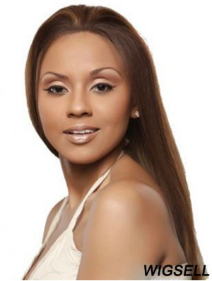 Cheap Human Lace Front Wigs With Remy Human Brown Color Straight Style