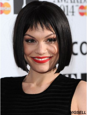 10 inch Hairstyles Black Chin Length Straight Bobs Jessie J Wigs